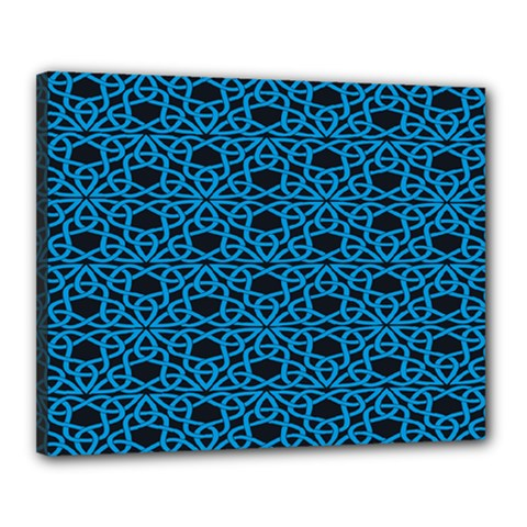 Triangle Knot Blue And Black Fabric Canvas 20  x 16