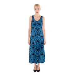 Triangle Knot Blue And Black Fabric Sleeveless Maxi Dress