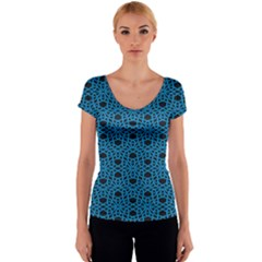 Triangle Knot Blue And Black Fabric Women s V-Neck Cap Sleeve Top