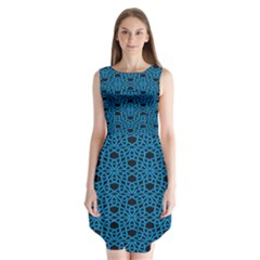 Triangle Knot Blue And Black Fabric Sleeveless Chiffon Dress