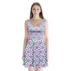 Multicolor Ornate Check Split Back Mini Dress