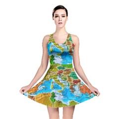 World Map Reversible Skater Dress
