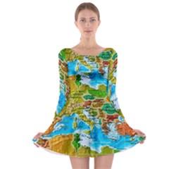 World Map Long Sleeve Skater Dress