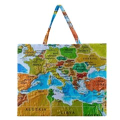 World Map Zipper Large Tote Bag