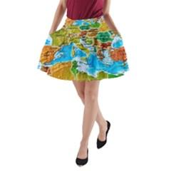 World Map A-Line Pocket Skirt
