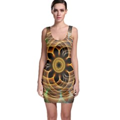 Mixed Chaos Flower Colorful Fractal Sleeveless Bodycon Dress