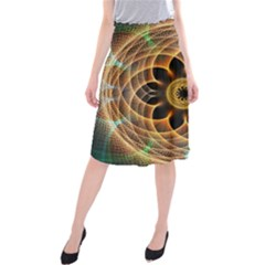 Mixed Chaos Flower Colorful Fractal Midi Beach Skirt