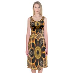Mixed Chaos Flower Colorful Fractal Midi Sleeveless Dress