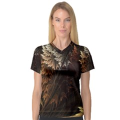Fractalius Abstract Forests Fractal Fractals Women s V-Neck Sport Mesh Tee