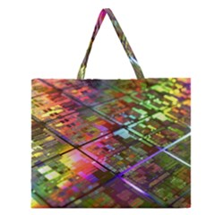 Technology Circuit Computer Zipper Large Tote Bag