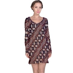 Art Traditional Batik Pattern Long Sleeve Nightdress