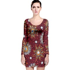 India Traditional Fabric Long Sleeve Velvet Bodycon Dress