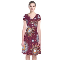 India Traditional Fabric Short Sleeve Front Wrap Dress
