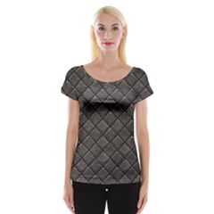 Seamless Leather Texture Pattern Women s Cap Sleeve Top