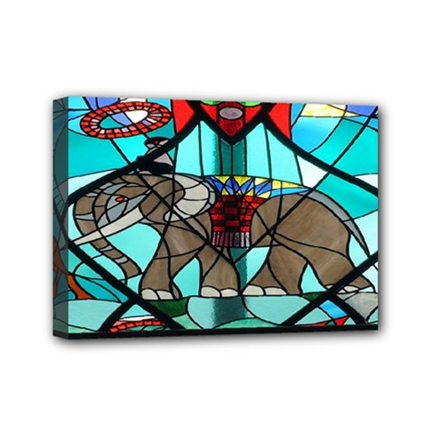 Elephant Stained Glass Mini Canvas 7  x 5