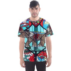 Elephant Stained Glass Men s Sport Mesh Tee