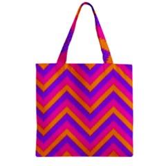 Chevron Zipper Grocery Tote Bag