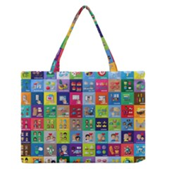 Exquisite Icons Collection Vector Medium Zipper Tote Bag