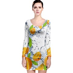 Fruits Water Vegetables Food Long Sleeve Bodycon Dress