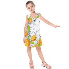 Fruits Water Vegetables Food Kids  Sleeveless Dress
