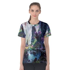 Fantastic World Fantasy Painting Women s Cotton Tee