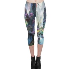 Fantastic World Fantasy Painting Capri Leggings