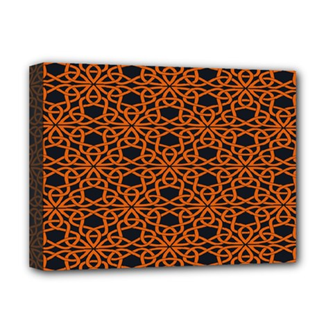 Triangle Knot Orange And Black Fabric Deluxe Canvas 16  x 12