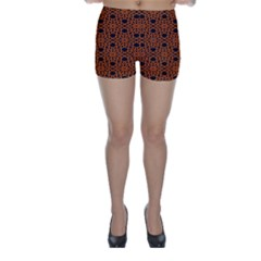 Triangle Knot Orange And Black Fabric Skinny Shorts