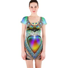 Rainbow Fractal Short Sleeve Bodycon Dress