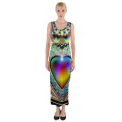 Rainbow Fractal Fitted Maxi Dress