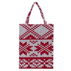 Crimson Knitting Pattern Background Vector Classic Tote Bag