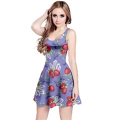 Medium Purple Strawberry Berries Reversible Sleeveless Dress