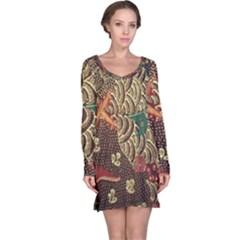 Art Traditional Flower Batik Pattern Long Sleeve Nightdress