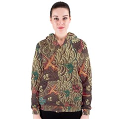 Art Traditional Flower Batik Pattern Women s Zipper Hoodie