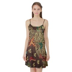 Art Traditional Flower Batik Pattern Satin Night Slip