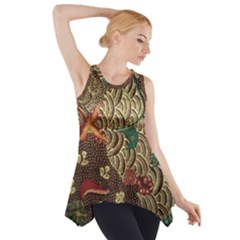 Art Traditional Flower Batik Pattern Side Drop Tank Tunic