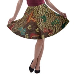 Art Traditional Flower Batik Pattern A-line Skater Skirt