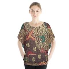 Art Traditional Flower Batik Pattern Blouse