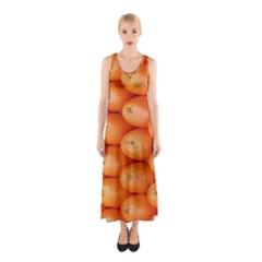 Orange Fruit Sleeveless Maxi Dress