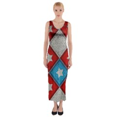 Star Color Fitted Maxi Dress