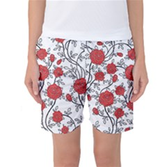 Texture Roses Flowers Women s Basketball Shorts