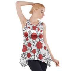 Texture Roses Flowers Side Drop Tank Tunic