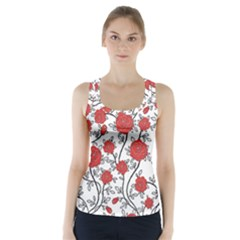 Texture Roses Flowers Racer Back Sports Top