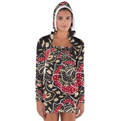 Art Batik Pattern Women s Long Sleeve Hooded T-shirt