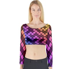 Abstract Small Block Pattern Long Sleeve Crop Top