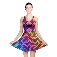 Abstract Small Block Pattern Reversible Skater Dress