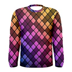 Abstract Small Block Pattern Men s Long Sleeve Tee
