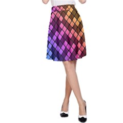 Abstract Small Block Pattern A-Line Skirt