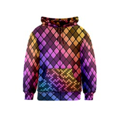 Abstract Small Block Pattern Kids  Zipper Hoodie
