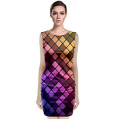 Abstract Small Block Pattern Classic Sleeveless Midi Dress